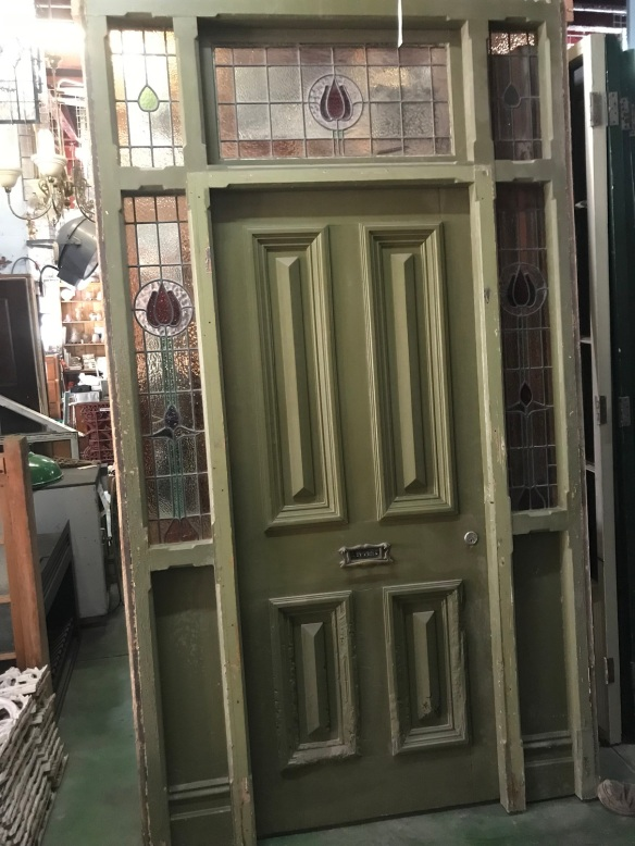 """salvaged, recycled, demolition, reproduction, restoration, renovation, collectable, second hand, used, original, old, reclaimed, heritage,original Victorian door frame with leadlight and cricket bat front door and slate step , 1510 mm wide x 2695 mm tall, $ 1545 door frame """"B"""""""