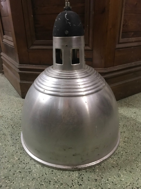 Large spun aluminium ceiling industrial lights, 525mm diameter x 640mm tall, 6 available, $150 each Large spun aluminium industrial lights, 525mm diameter x 640mm tall, 6 available, $150 each