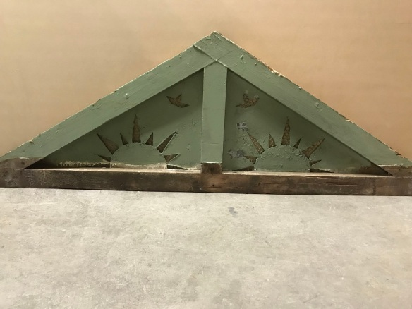 Pair of gable end with sunshine motif, 2100 mm x 620 mm. $ 145 each