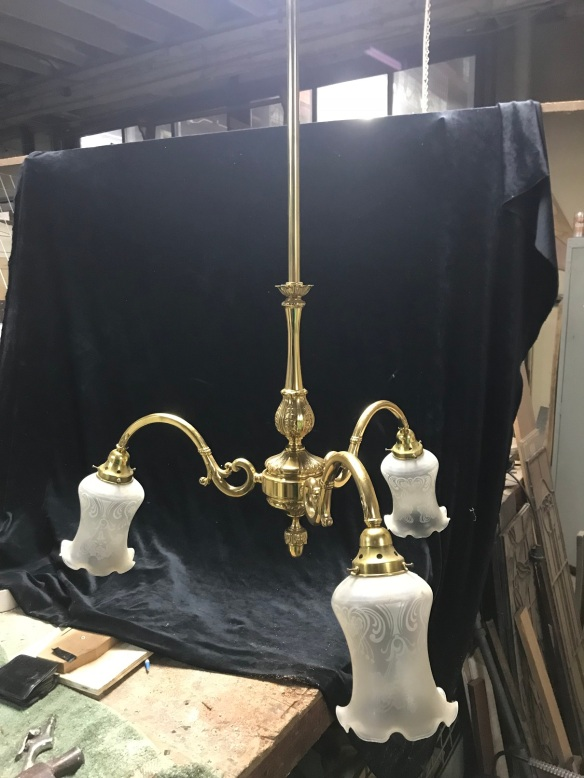 3 Branch light , brass with etched shades, $ 225