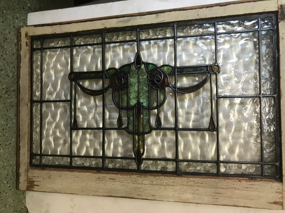 salvaged, recycled, demolition, reproduction, restoration, renovation, collectable, second hand, used, original, old, reclaimed, heritage,Original leadlight fan light window, frame is 585 mm x 885 mm , glass is 470 mm x 800 mm , $ 330