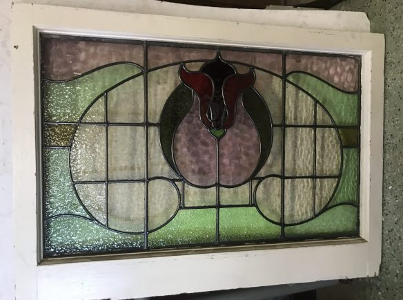 salvaged, recycled, demolition, reproduction, restoration, renovation, collectable, second hand, used, original, old, reclaimed, heritage,Original large fanlight window with leadlight , frame is 650 mm x 910 mm , glass is 505 mm x 820 mm , $ 330