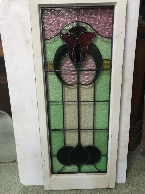 salvaged, recycled, demolition, reproduction, restoration, renovation, collectable, second hand, used, original, old, reclaimed, heritage,original leadlight window, frame is 485 mm x 1185 mm , glass is 395 mm x 1045 mm , $ 385 each , 2 available