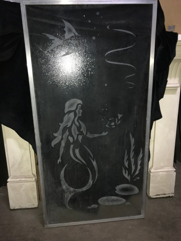 small shower screen for an end of bath, with etched mermaid and fish, 710 mm x 1400 mm $ 110