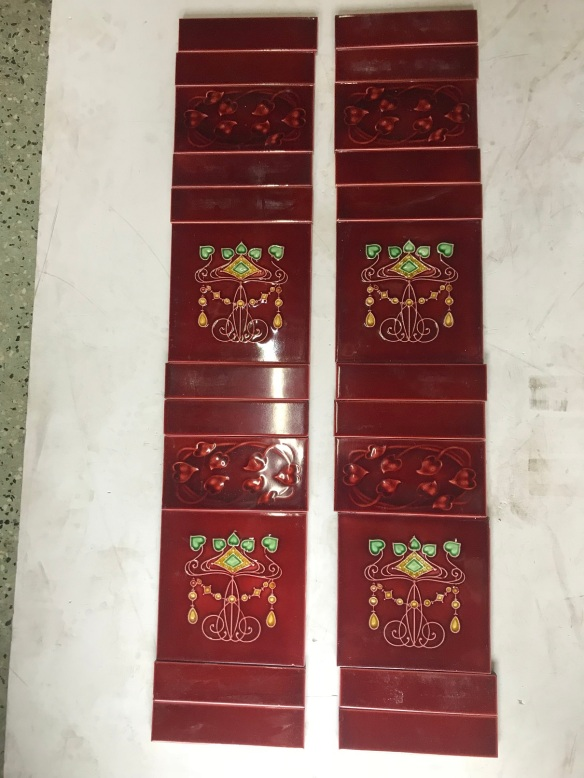 salvaged, recycled, demolition, reproduction, restoration, renovation, collectable, second hand, used, original, old, reclaimed, heritage,Dark Burgundy fireplace tile set, original old tiles, $ 180 the set OTB