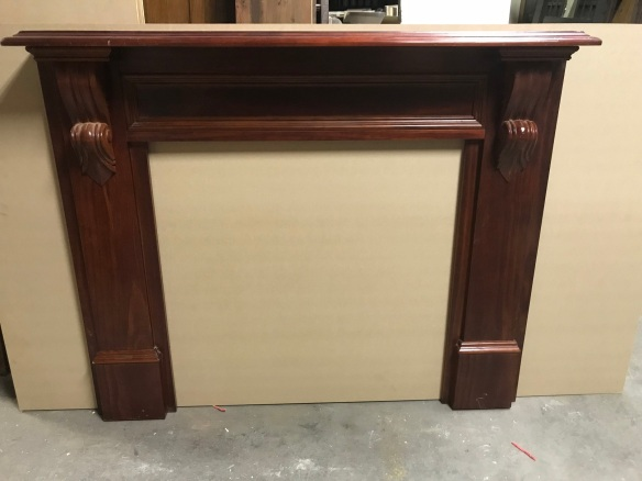 salvaged, recycled, demolition, reproduction, restoration, renovation, collectable, second hand, used, original, old, reclaimed, heritage,Timber fire surround with corbells, top shelf is 1430 mm x 1200 mm tall, $ 285