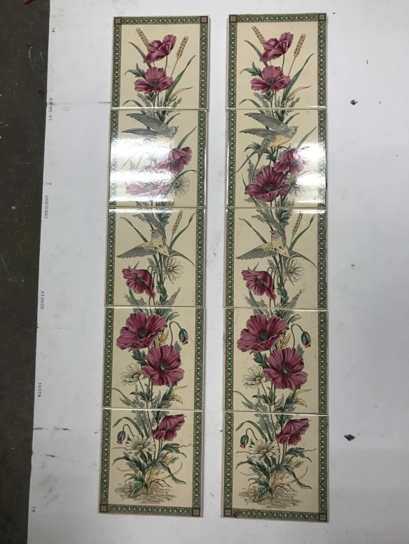 """Reproduction continuos tile set for fireplace, """"Poppy and Swallow """" , $ 330 the set"""
