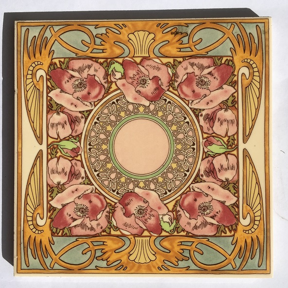 Reproduction Alphonse Mucha Art Nouveau design tiles / hearth tiles pinks yellow and blue, from Stovax Nocturnal Slumber design, 5 available, $33 each SET 149