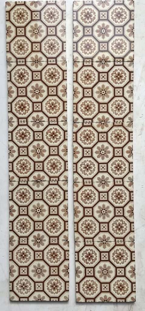 Original Victorian fireplace tiles circa 1890. 6x6 inch, teapot brown repeated design off white ground. Can split into pairs, Two panel set $350 SET 36 teapot brown flower and foliage design on buff ground. Can split into pairs, Two panel set $350 SET 36 salvaged recycled demolition, reproduction, restoration, renovation,collectable, secondhand, used , original, old, reclaimed, heritage, antique, victorian, edwardian, georgian art nouveau ceramic arts and crafts decorative aesthetic