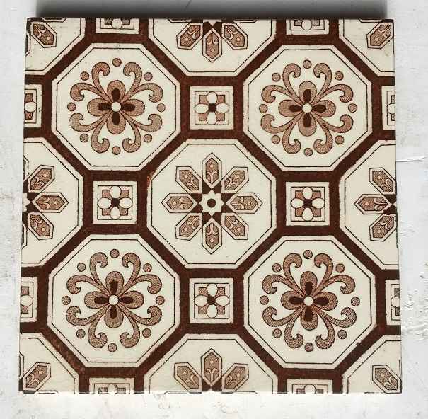 Detail of original Victorian fireplace tiles circa 1890. 6x6 inch, teapot brown repeated design off white ground. Can split into pairs, Two panel set $350 SET 36 brown flower and foliage design on buff ground. Can split into pairs, Two panel set $350 SET 36 salvaged, recycled, demolition, reproduction, restoration, renovation,collectable, secondhand, used , original, old, reclaimed, heritage, antique, victorian, edwardian, georgian, deco fireplace tile