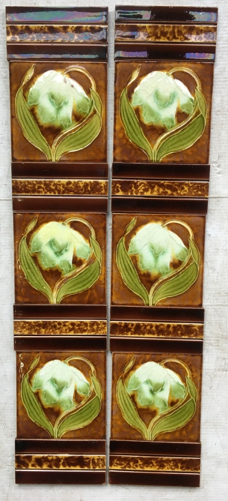 set 75 Original English Victorian fireplace tile set, white flower design poss. lily/snowdrop. very good condition, $290 for the full set white flower green leaves brown field, background. salvaged, recycled, demolition, reproduction, restoration, renovation,collectable, secondhand, used , original, old, reclaimed, heritage, antique, victorian, edwardian, georgian, deco