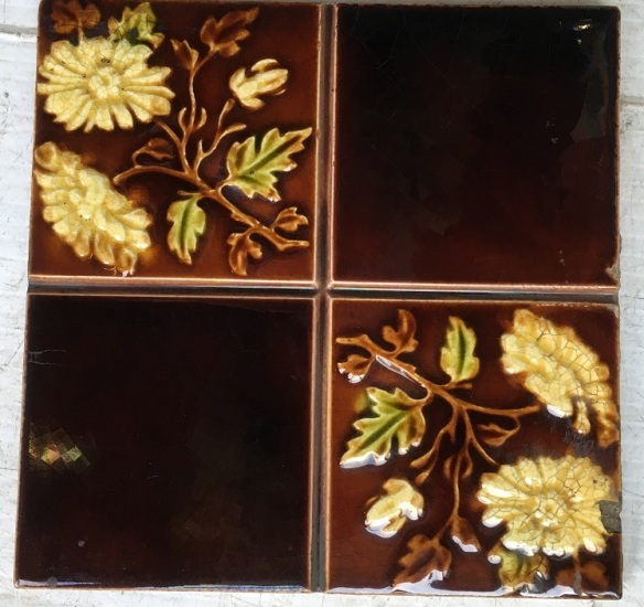 salvaged, recycled, demolition, reproduction, restoration, renovation,collectable, secondhand, used , original, old, reclaimed, heritage, antique, victorian, edwardian, georgian, Original English Victorian fireplace tile set, pale yellow flower design poss. daisy, $300 for the full set (set 76)