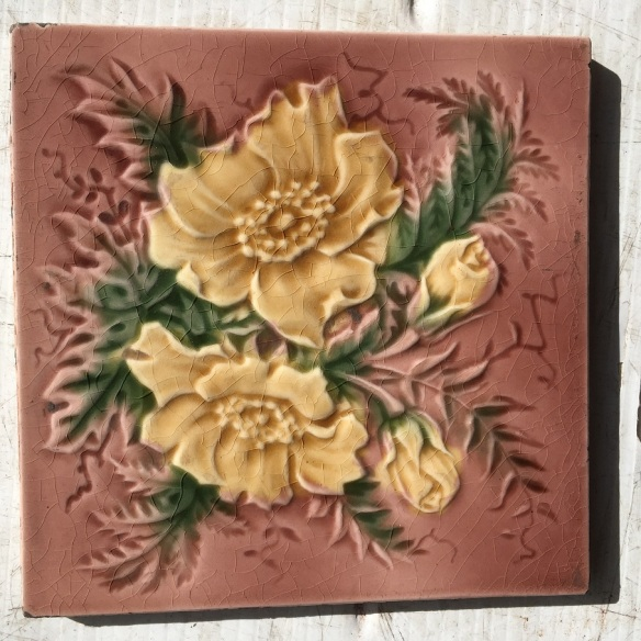 salvaged, recycled, demolition, reproduction, restoration, renovation,collectable, secondhand, used , original, old, reclaimed, heritage, antique, victorian, edwardian, georgian, deco Victorian fireplace tiles original, dusky pink background and yellow flowers x 4 available(set 77)