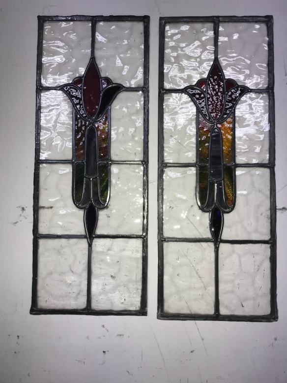 original pair of lead light panels , 610 mm x 230 mm , $ 195 each