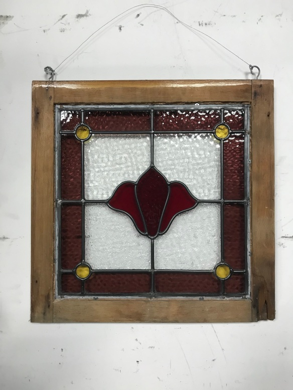 original lead light panel in frame, frame is 535 mm x 530 mm , glass is 430 mm x 430 mm , $ 195