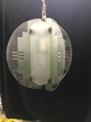 Art Deco light with etched geometric design to the glass, $ 245