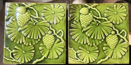 salvaged, recycled, demolition, reproduction, restoration, renovation,collectable, secondhand, used , original, old, reclaimed, heritage, antique, victorian, edwardian, georgian, deco Minton Stoke on Trent tiles (c 1895) with pine cone and needles design. Green glaze. 6 x 6 inch, some faults. Pair $80