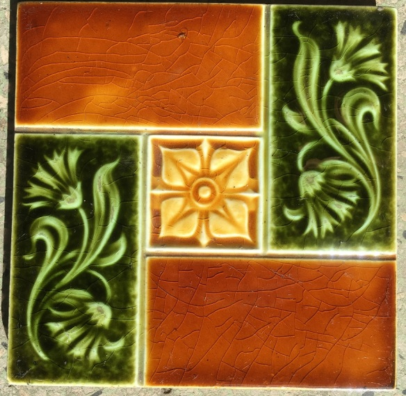 Edge Malkin & Co tiles c1870-1900, green and teapot brown glaze, 6 x 6 inch,(WS) $28 each salvaged recycled demolition, reproduction, restoration, renovation,collectable, secondhand, used , original, old, reclaimed, heritage, antique, victorian, edwardian, georgian art nouveau ceramic arts and crafts decorative aesthetic