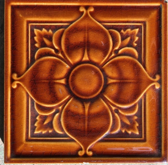Pilkington Tiles, majolica, (1892-1910), warm brown glaze, very excellent condition, (WS) Pair for $75 salvaged, recycled, demolition, reproduction, restoration, renovation,collectable, secondhand, used , original, old, reclaimed, heritage, antique, victorian, edwardian,