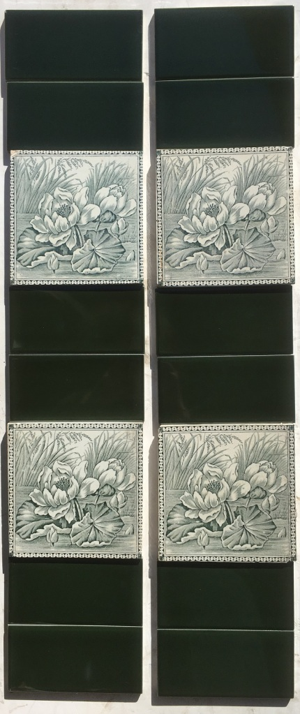 salvaged recycled demolition, reproduction, restoration, renovation,collectable, secondhand, used , original, old, reclaimed, heritage, antique, victorian, edwardian, georgian art nouveau ceramic arts and crafts decorative aesthetic Victorian era fireplace tiles, water lilies design, deep green on white, very good condition (OTB) $220 for the set