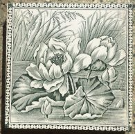 Victorian era fireplace tiles, water lilies design, deep grey green on white, very good condition, 4 tiles available $88 per pair WS salvageddetail of Victorian era fireplace tiles, water lilies design, deep green on white, very good condition (OTB) $220 for the set recycled demolition, reproduction, restoration, renovation,collectable, secondhand, used , original, old, reclaimed, heritage, antique, victorian, edwardian, georgian art nouveau ceramic arts and crafts decorative aesthetic Victorian era fireplace tiles, water lilies design, deep green on white, very good condition (OTB) $220 for the set