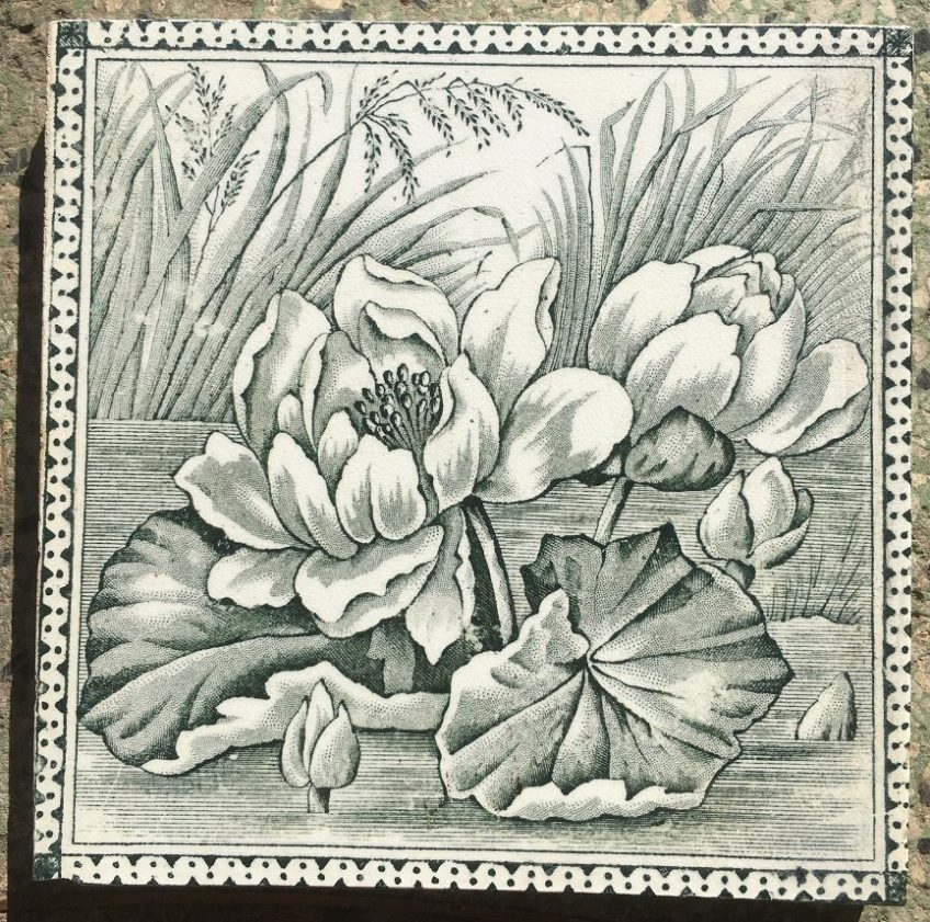 salvageddetail of Victorian era fireplace tiles, water lilies design, deep green on white, very good condition (OTB) $220 for the set recycled demolition, reproduction, restoration, renovation,collectable, secondhand, used , original, old, reclaimed, heritage, antique, victorian, edwardian, georgian art nouveau ceramic arts and crafts decorative aesthetic Victorian era fireplace tiles, water lilies design, deep green on white, very good condition (OTB) $220 for the set