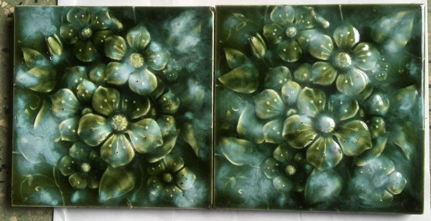 salvaged, recycled, demolition, reproduction, restoration, renovation,collectable, secondhand, used , original, old, reclaimed, heritage, antique, victorian, edwardian, georgian, deco fireplace tiles, 6 x 6 inch green/blue glaze some wear to relief high points.(WS) $60 the pair