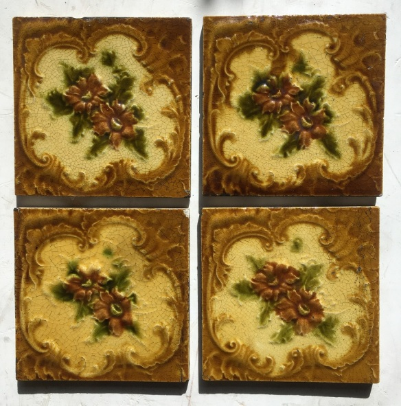 original Victorian fireplace tiles, flower design, warm yellow/browns with olive leaves. 4 available, $25 each SET 99salvaged, recycled, demolition, reproduction, restoration, renovation,collectable, secondhand, used , original, old, reclaimed, heritage, antique, victorian, edwardian, georgian, deco