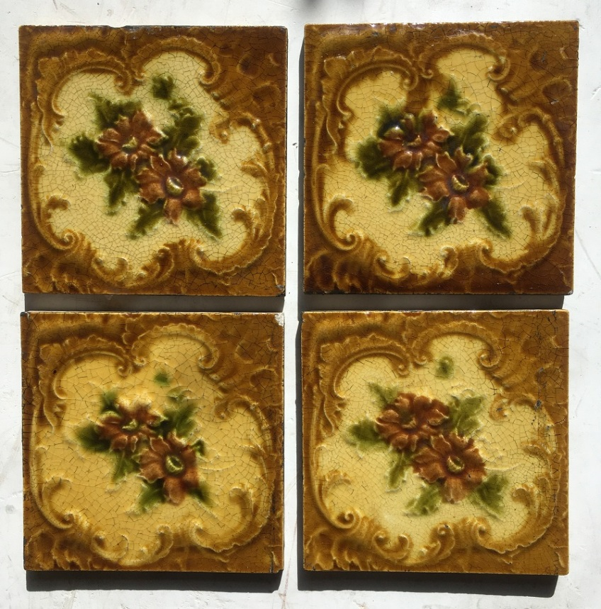 original Victorian fireplace tiles, flower design, warm yellow/browns with olive leaves. 4 available, $25 each SET 99salvaged, recycled, demolition, reproduction, restoration, renovation,collectable, secondhand, used , original, old, reclaimed, heritage, antique, victorian, edwardian, georgian, d salvaged recycled demolition, reproduction, restoration, renovation,collectable, secondhand, used , original, old, reclaimed, heritage, antique, victorian, edwardian, georgian art nouveau ceramic arts and crafts decorative aesthetic eco