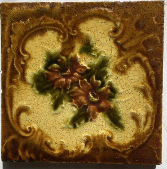 original Victorian fireplace tiles, flower design, warm yellow/browns with olive leaves. 4 available, $25 each SET 99 salvaged, recycled, demolition, reproduction, restoration, renovation,collectable, secondhand, used , original, old, reclaimed, heritage, antique, victorian, edwardian, georgian, deco salvaged recycled demolition, reproduction, restoration, renovation,collectable, secondhand, used , original, old, reclaimed, heritage, antique, victorian, edwardian, georgian art nouveau ceramic arts and crafts decorative aesthetic