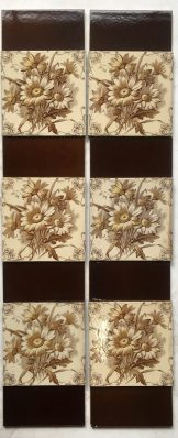 H.A. Ollivant c1900-1908 transfer print with hand painted yellow petal detail, fireplace tiles set, $295, SET 95salvaged, recycled, demolition, reproduction, restoration, renovation,collectable, secondhand, used , original, old, reclaimed, heritage, antique, victorian, edwardian, georgian, deco