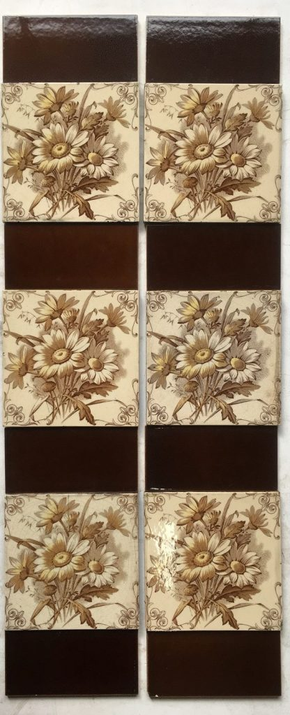 H.A. Ollivant c1900-1908 transfer print with hand painted yellow petal detail, fireplace tiles set, $295, SET 95salvaged, recycled, demolition, reproduction, restoration, renovation,collectable, secondhand, used , original, old, reclaimed, heritage, antique, victorian, edwardian, georgian, deco salvaged recycled demolition, reproduction, restoration, renovation,collectable, secondhand, used , original, old, reclaimed, heritage, antique, victorian, edwardian, georgian art nouveau ceramic arts and crafts decorative aesthetic