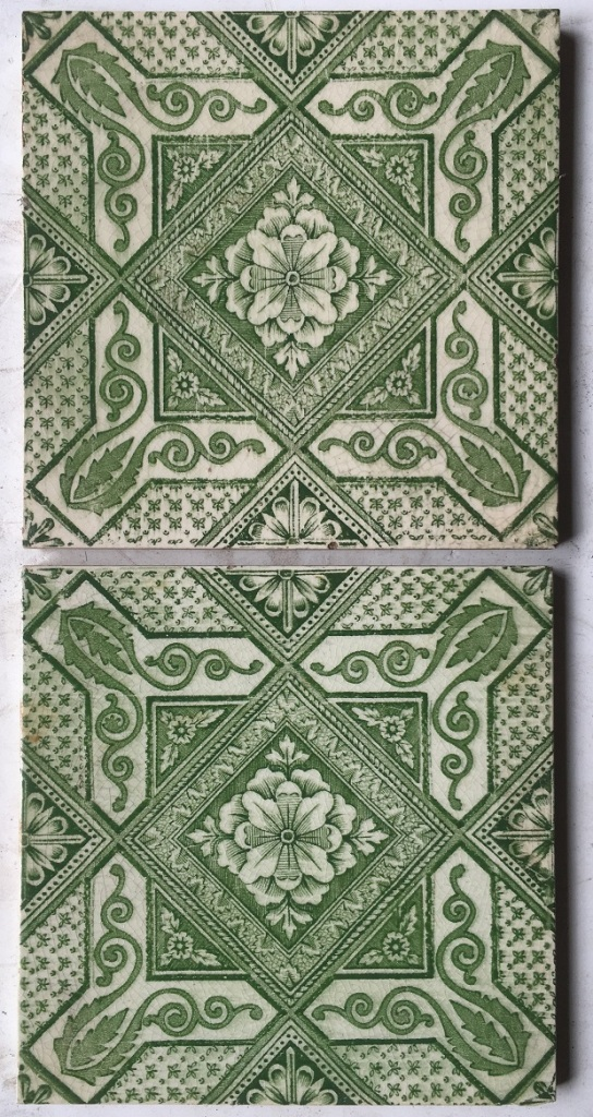 salvaged, recycled, demolition, reproduction, restoration, renovation,collectable, secondhand, used , original, old, reclaimed, heritage, antique, victorian, edwardian, georgian, deco T&R Boote tiles c 1862-1910, green transfer print on cream 6x6 inch, 2 available, $27.50 each WS