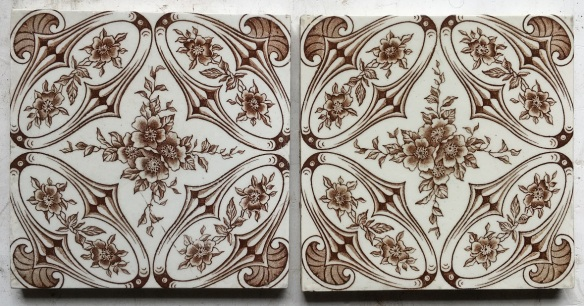 Brown on white, original English transfer print 6x6 inch tiles, 2 available, $27.50 each WS salvaged, recycled, demolition, reproduction, restoration, renovation,collectable, secondhand, used , original, old, reclaimed, heritage, antique, victorian, edwardian, georgian, deco