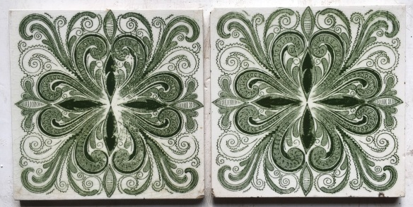 salvaged, recycled, demolition, reproduction, restoration, renovation,collectable, secondhand, used , original, old, reclaimed, heritage, antique, victorian, edwardian, georgian, deco T&R Boote tiles c 1862-1910, green transfer print on white 6x6 inch, 2 available, $27.50 each WS