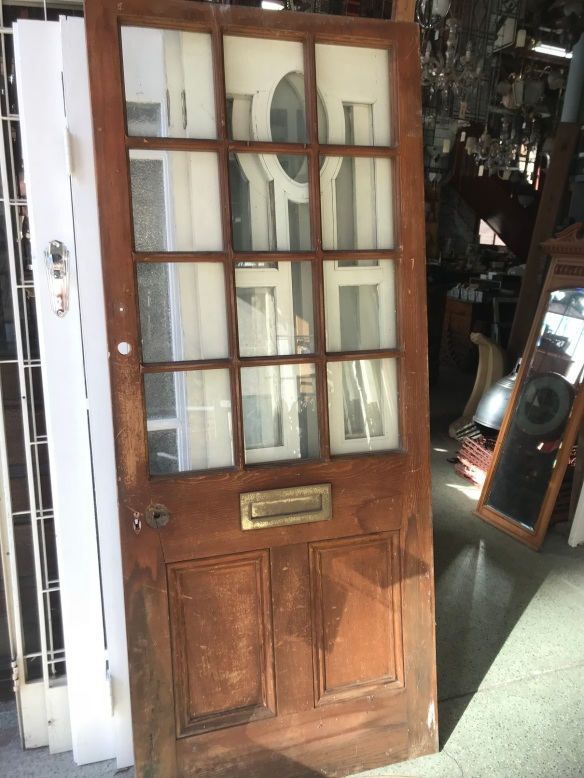 Western Red Cedar door with 12 panes of glass and letterbox slot , 860 mm x 2055 mm, $ 220
