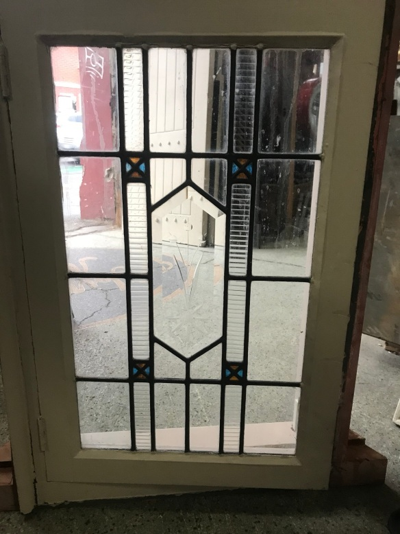 salvaged, recycled, demolition, reproduction, restoration, renovation,collectable, secondhand, used , original, old, reclaimed, heritage, antique, victorian, edwardian, georgian, decoCasement window with leadlight panel, casement is 595 mm x 915 mm , $ 300