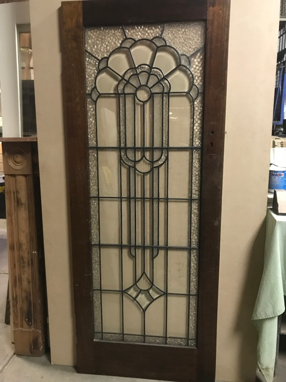 salvaged, recycled, demolition, reproduction, restoration, renovation,collectable, secondhand, used , original, old, reclaimed, heritage, antique, victorian, edwardian, georgian, deco Art Deco leadlight door, 810 mm x 2010 mm, $ 600