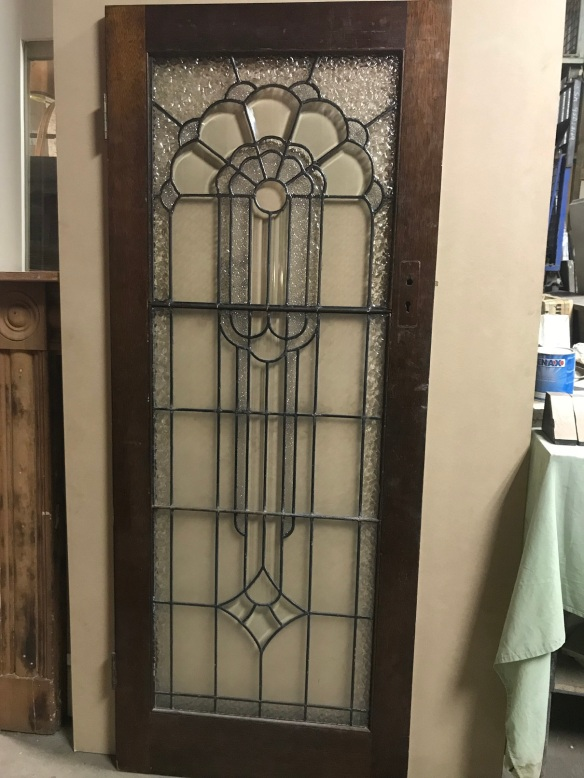 salvaged, recycled, demolition, reproduction, restoration, renovation,collectable, secondhand, used , original, old, reclaimed, heritage, antique, victorian, edwardian, georgian, deco Art Deco door with leadlight, 805 mm x 2030 mm , $ 600