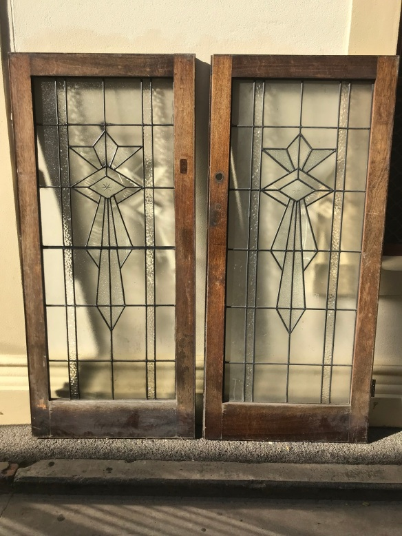salvaged, recycled, demolition, reproduction, restoration, renovation,collectable, secondhand, used , original, old, reclaimed, heritage, antique, victorian, edwardian, georgian, deco Pair of lead light Deco style french doors, in Australian oak frames, 1810 mm wide x 2035 mm tall, $ 1200 the pair