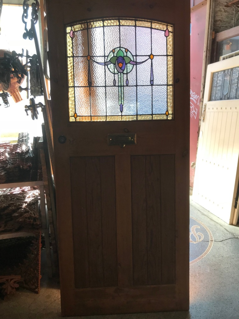 Front door, stripped baltic pine with red pine panels, with original leadlight panel , 910 mm wide x 2115 mm tall $585 salvaged, recycled, demolition, reproduction, restoration, renovation,collectable, secondhand, used , original, old, reclaimed, heritage, antique, victorian, edwardian, georgian, deco Front door with original leadlight panel , 910 mm wide x 2115 mm tall $585