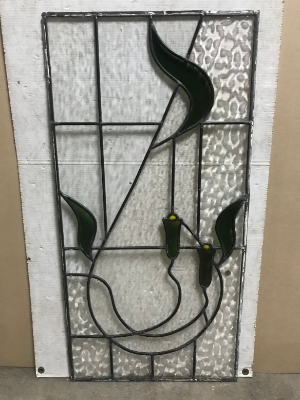 original leadlight panel, with green and yellow glass in the pattern, 455 mm x 915 mm , $210