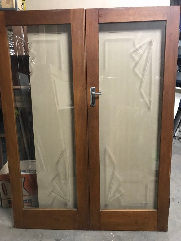 salvaged, recycled, demolition, reproduction, restoration, renovation,collectable, secondhand, used , original, old, reclaimed, heritage, antique, victorian, edwardian, georgian, deco Pair of Art Deco french doors with cut glass motif to the corners, 1525 mm wide x 2030 mm tall, comes with key for the lock, $545 the pair