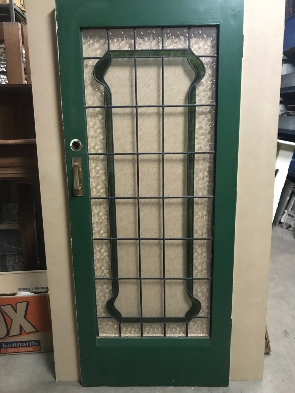 salvaged, recycled, demolition, reproduction, restoration, renovation,collectable, secondhand, used , original, old, reclaimed, heritage, antique, victorian, edwardian, georgian, deco Leadlight front door, green and clear rippled glass , 850 mm wide x 2030 mm tall, $650