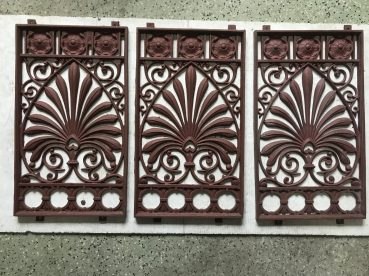 salvaged, recycled, demolition, reproduction, restoration, renovation,collectable, secondhand, used , original, old, reclaimed, heritage, antique, victorian, edwardian, georgian, deco Decorative cast iron panels, 300 mm wide x 520 mm tall , $ 185 each , 3 available