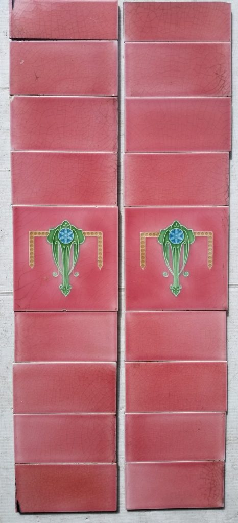 Possibly H R Richards Tile Co 1920s, pink fireplace tile set $120 SET 86 salvaged, recycled, demolition, reproduction, restoration, renovation,collectable, secondhand, used , original, old, reclaimed, heritage, antique, victorian, edwardian, georgian, deco