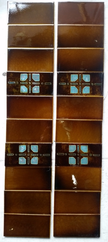 original Tubeline tiles, $88 for the two full fire place panels SET 93 salvaged recycled demolition, reproduction, restoration, renovation,collectable, secondhand, used , original, old, reclaimed, heritage, antique, victorian, edwardian, georgian art nouveau ceramic arts and crafts decorative aesthetic
