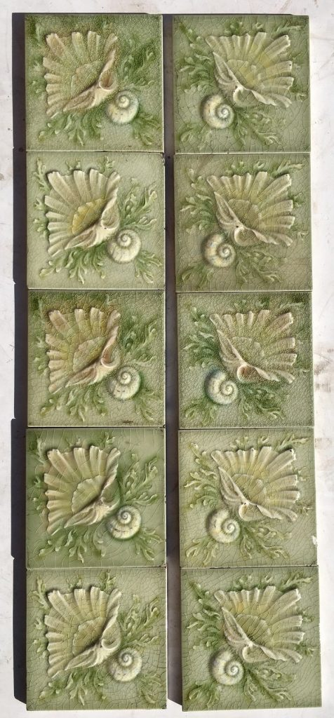 salvaged, recycled, demolition, reproduction, restoration, renovation,collectable, secondhand, used , original, old, reclaimed, heritage, antique, victorian, edwardian, georgian, deco AET Co/ American Encaustic Tile Co. Victorian era fireplace tile set of 10 tiles. Seashell design, soft green with some pale yellow and pink highlights. $330 for the setAET Co/ American Encaustic Tile Co. Victorian era fireplace tile set of 10 tiles. Seashell design, soft green with some pale yellow and pink highlights. $330 for the set salvaged recycled demolition, reproduction, restoration, renovation,collectable, secondhand, used , original, old, reclaimed, heritage, antique, victorian, edwardian, georgian art nouveau ceramic arts and crafts decorative aesthetic