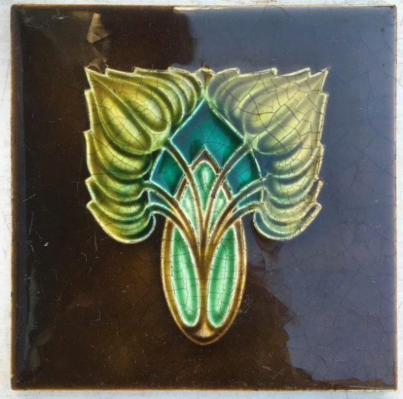 set 91 H Richards Tile Co c1902-1909, fireplace tiles, deep brown background with green, 2 available $25 each salvaged, recycled, demolition, reproduction, restoration, renovation,collectable, secondhand, used , original, old, reclaimed, heritage, antique, victorian, edwardian, georgian, deco