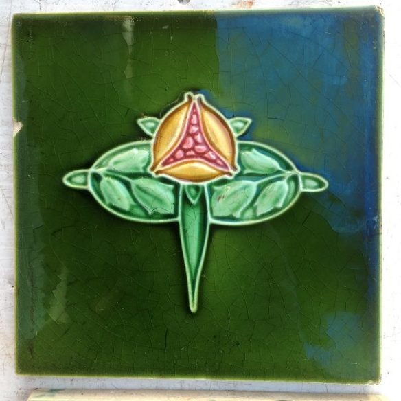 Pair of Art Nouveau, Pilkington Tile and Pottery Co. tiles, c1930 6x6 inch, yellow and pink pomegranate motif on green glaze, $70 pair SET 120 salvaged recycled demolition, reproduction, restoration, renovation,collectable, secondhand, used , original, old, reclaimed, heritage, antique, victorian, edwardian, georgian art nouveau ceramic arts and crafts decorative aesthetic